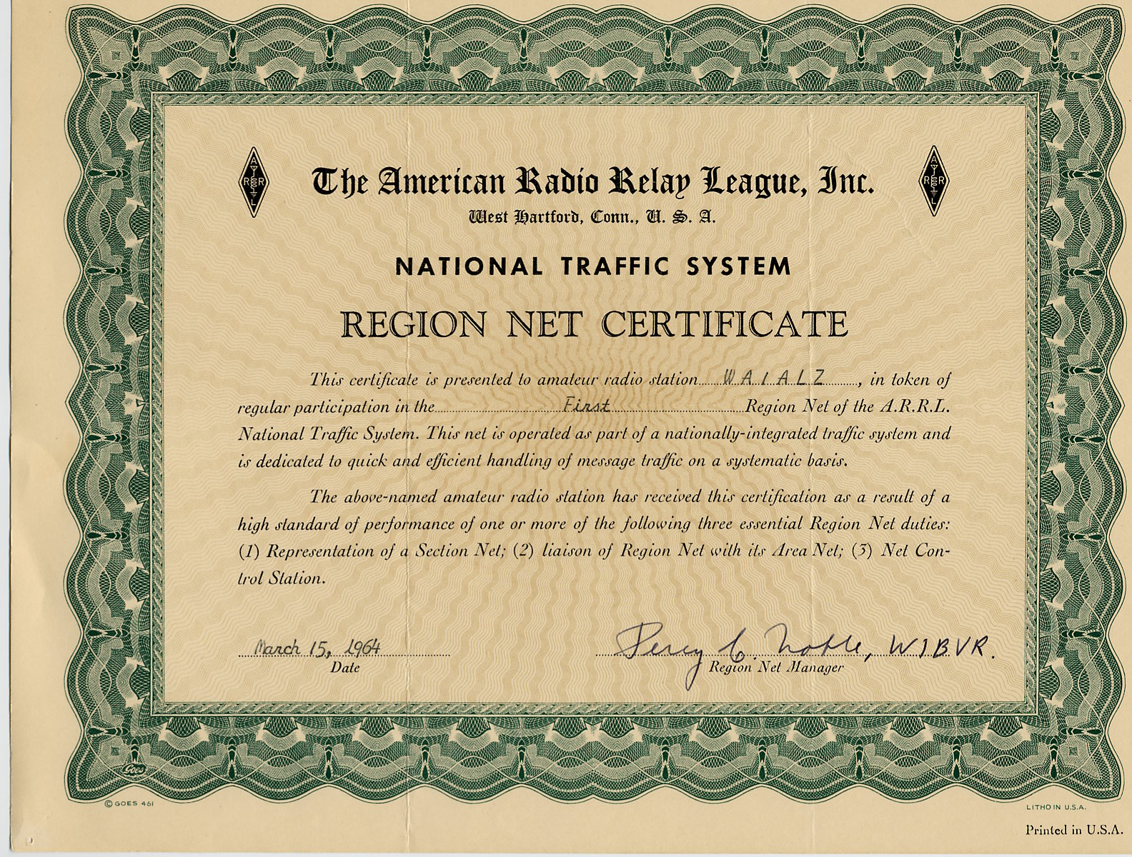 W1tr radio awards certificates 1964 arrl nts region net certificate 1rn cw wa1alz xflitez Image collections